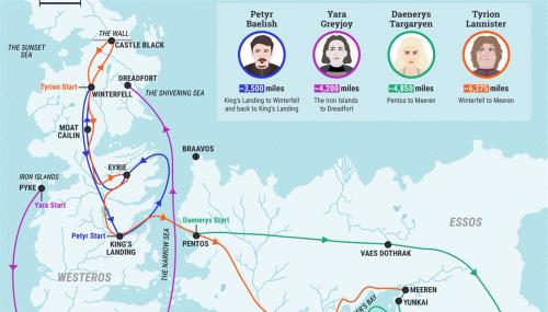 Game of Thrones : une carte retrace les voyages les plus fous de la série
