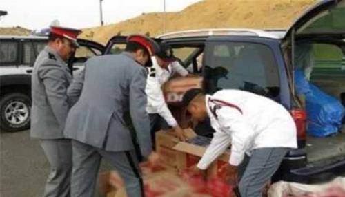 Saisie par la Gendarmerie royale d'Ouezzane de 5 tonnes de kif moulu